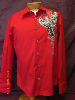 Long  Dress on Bizzo Mens Red Long Sleeve Dress Shirt With Sequin Graphic Cross