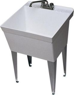 Plastic Utility Sink : SINGLE BOWL 21 GALLON PLASTIC LAUNDRY TUB UTILITY SINK WITH CHROME