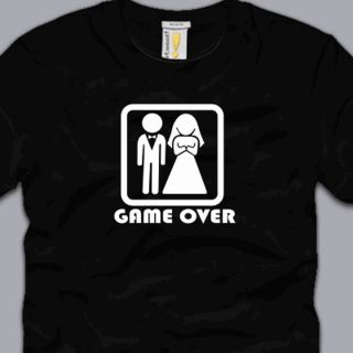 Game Over T Shirt Small Funny Marriage Honeymoon Wife Husband Gag Gift