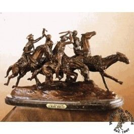 DRAGOONS by Frederic Remington Bronze Handcast Sculpture w Marble Base