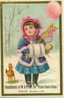 Vintage w H Frear Troy Bazaar Victorian Advertising Trade Card Free