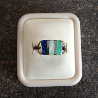 Zuni Pueblo Sterling Silver Multistone Inlay Opal Ring Size 7 Nice