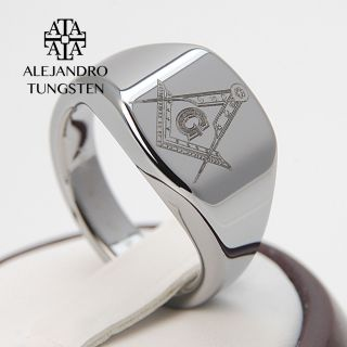 Tungsten Carbide Ring Silver Elegant Masonic Freemason Ring   ATG040