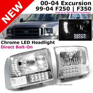 Ford F 250 F 350 Super Duty Excursion Chrome Housing Headlight LED