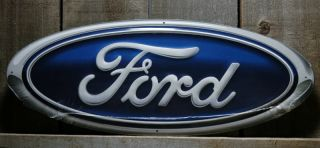 METAL LARGE DIE CUT 20 FORD LOGO TIN SIGN GARAGE MAN CAVE SIGNS