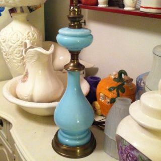 Vintage French Blue Opaline Glass Robins Egg Blue Lamp Chic Regency