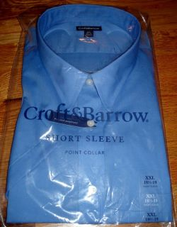 MENS CROFT & BARROW SS DRESS SHIRT, XXL, 18.5   19, CLASSIC FIT, BLUE
