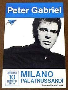 Peter Gabriel Orig Milan Italy Concert Poster 1987 Mint