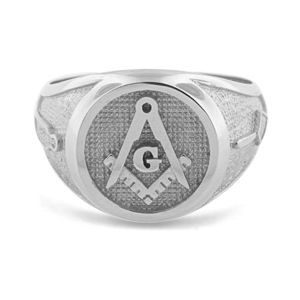 Mens Sterling Silver 925 Masonic Ring Master Freemason Square and