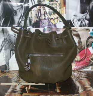 Michael Michael Kors Knox Drawstring Satchel Olive Green Leather Tote