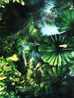 Tropical Forest Leaves Original Canvas Oil Painting