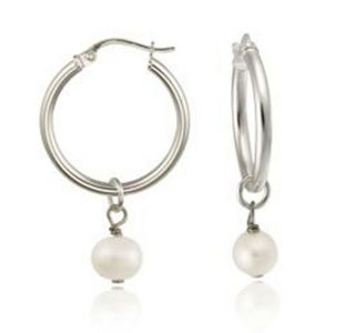 Genuine White Freshwater Pearl Hoop Earrings 14k Gold Over 925 Silver