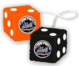 York Mets MLB 3 Plush Fuzzy Furry Fluffy Hanging Dice Fremont Die Car