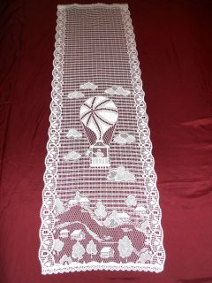 DE FRANCE FRENCH IMPORTED WHITE LACE WINDOW DOOR CURTAIN PANEL 22X73