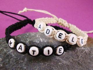 Bracelet Any Name Letter Beads Beige Black Handmade Friendship