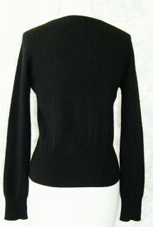 Forte Soft Black 100 Cashmere Cableknit Sweater M V Neck Long Sleeve