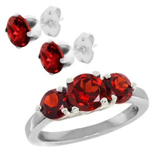 26 Ct 3 Stone Red Garnet 925 Sterling Silver Ring New