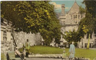 Vintage Frith Colour Postcard of The Castle Gardens Oswestry OSW44