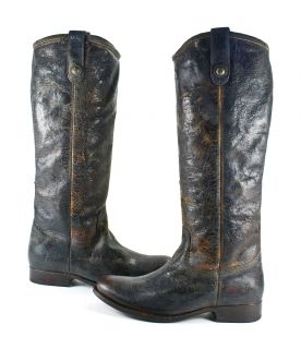 Frye Melissa Button Chocolate Brown Leather Cowboy Pull On Boots