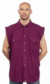 Mens Denim Sleeveless Shirt Burgandy Black Purple White