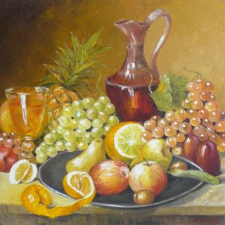 Art Original Oil Painting on Canvas Still Life with Fruits