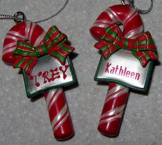 Ganz Holidiay Christmas Ornament Personalized With ANY NAME Candy Cane