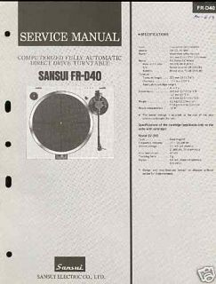 Sansui Fr D40 Service Manual Original Free US Shipping