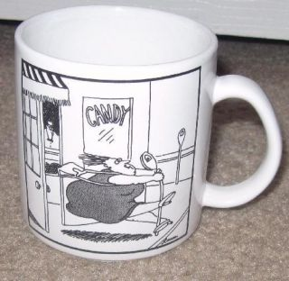Vintage FAR SIDE Cartoon Gary Larson Woman Pulled into Candy Shop mug