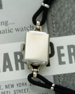 VINTAGE 14K SOLID WHITE GOLD Girard Perregaux SWING LUG COCKTAIL Watch