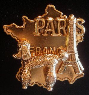 Paris France Pin Brooch Eiffel Tower French Poodle 24 Karat Plate I