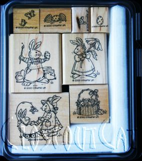 Stampin Up Bunny Buddies Stamps Set Easter Rabbits Eggs Basket