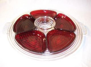Anchor Hocking Manhattan Ruby Red Relish Set Tray 7 Pieces MINT