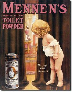 Mennens Toilet Powder Bathroom Old Vintage Advertising Tin Sign 10