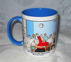 Gary Larson Far Side Comic School Teacher My Brain is Full 1986 Coffee