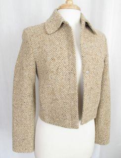 Gabriele Strehler Tweed Blazer Size 4 Beige 100 Wool Germany Perfect
