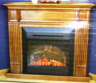 Oak Corner Fireplace Mantel New Fits both electric or gas inserts