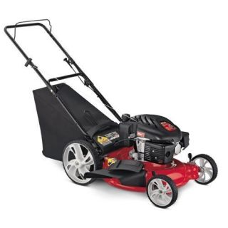 Gas Powered Push Lawn Mower Bagger High Rear Wheels Yard Care Walk