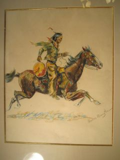 Orig. Frederic REMINGTON drawing Native American INDIAN Chief horse
