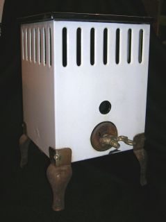 Vintage German WWII Era White Enamel Metal Gas Space Heater