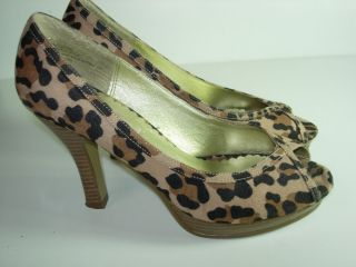 WOMENS BLACK BROWN TAN LEOPARD STEVE MADDEN PEEP TOE HEELS PUMPS SHOES