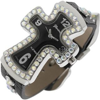 Rhinestones Black Cross Geneva Ladies Watch GE107B
