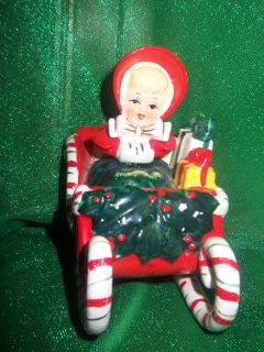 Geo Lefton Girl in Sleigh with Presents Vintage 1950s Era Made in