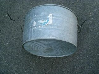 Vintage Old Galvanized Wash Tub Primitive Planter