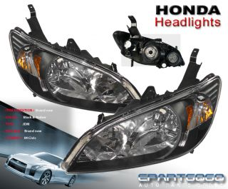 2004 2005 Honda Civic 2 4DR JDM Headlights Crystal Black Housing Amber