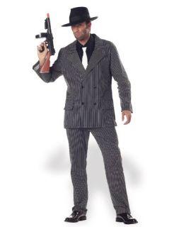 Mens Large Halloween Costume Gangster Mobster Jack Skeleton Pinstripe