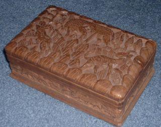 Vintage Gazelle Carved Wood Box Jewelry Rustic Animal