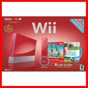 Red Nintendo Super Mario Brothers Wii w Xtra Controllers Club Nintendo