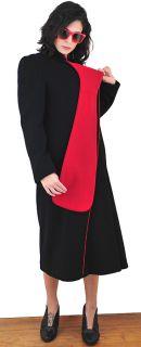 Vtg 1980s Red & Black AVANT GARDE WOOL Puff Sleeve WINTER Long Dress