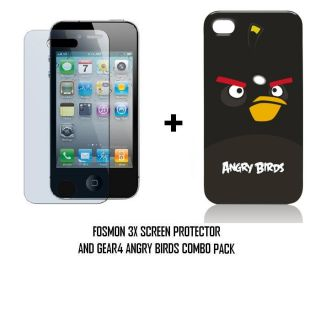 Gear4 Angry Birds Hardshell Case 3 Pack Screen Protector for iPhone 4
