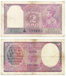 1943 India 2 Rupee Banknote of King George VI GB UK Great Britain P 17